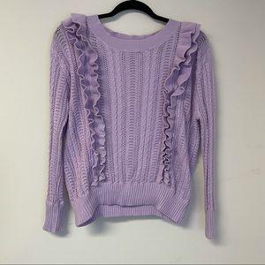 Dee Elly Lavender Purple Ruffle Sweater M